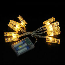 LED Light Photo Peg Clip Shape Hanging Pictures Fairy String Light Battery