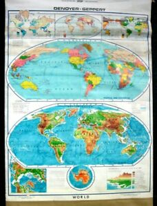 Vintage Denoyer- Geppert Visual Relief & Commercial Roll Up World Map no. 11009