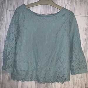 Girls Age 12-13 Years - Green Lacy Top