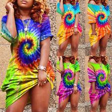 Plus Size Womens Tie Dye Summer Dress Ladies Boho Beach Casual Loose Sundress