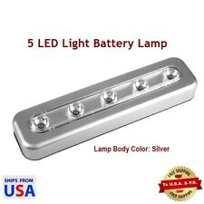 5 LED Light Bar Battery Operated Cabinet Closet Light, Wall Touch Lamp - Silver