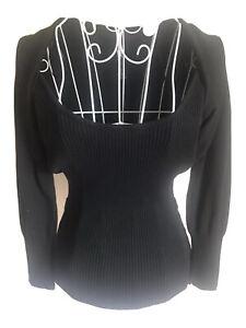 Bay Womens Jumper Size 10 Black Long Sleeved Bolero Imitation Belt Loops