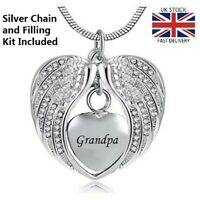 Grandpa Angel Wing Heart Cremation Urn Pendant Ashes Necklace Funeral Memorial