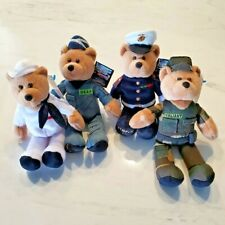 Limited Treasure Hometown Heroes Plush Bears  Army, Navy, Marines, Airforce 2002