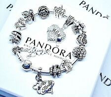 Authentic Pandora Silver Bracelet with Mom Family Heart European Charms -