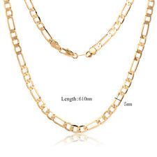 18K yellow Gold Plated Cuban Link Chain Necklaces Mens Hip Hop Jewelry 5mm