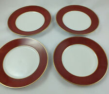 HUTSCHENREUTHER LHS Lot of 4 Salad/Dessert Plates Red Band w/ Gold Trim MULTIPLE
