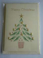 HANDMADE STITCHED CHRISTMAS CARD CHRISTMAS TREE WITH BEADWORK