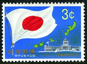 Ryukyu 206, MNH. Japanese Flag, Map of Ryukyus, 1970