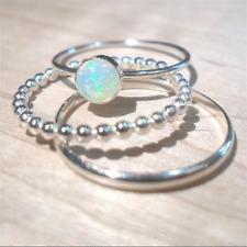 Fashion Round Cut Moonstone 3PCS Ring Set 925 Silver Women Jewelry Gift Size5-12