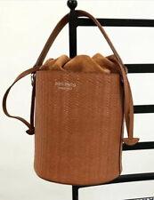 Meli Melo Santina Tan Woven Leather Bucket Bag