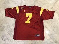 Men's MATT BARKLEY #7 Nike Stitched Sewn USC Trojans Red Jersey - XL (52)