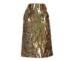 J Crew Collection Merino Wool Sequin Embellished Fringe Pencil Skirt 6 Sample