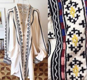 ANTHROPOLOGIE BNWT cream cotton embroidered oversized jacket SIZE S/M BOHO