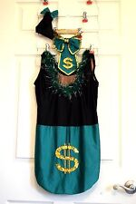 Dance Recital Costume-Glamour-Emerald Green-Black Leotard-Ballet-Tap-Jazz-L@@K!