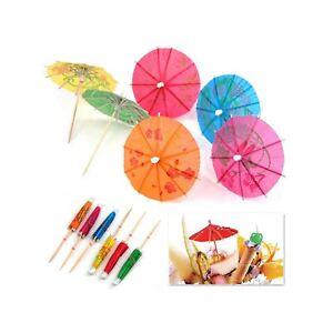 Cocktails Umbrella Sticks Paper Party Tropical Drinks Fruits Decoration 144PCS