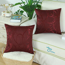 "2Pcs Throw Pillow Cover Reversible Vintage Striped Circle Sofa 18""x18"" Burgundy"