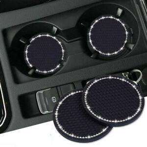 2x Universal Car Bling Rhinestone Cup Holder Insert Coaster Interior Accessories