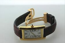 18K 750 Yellow Gold Geneve Watch with Burgundy Leather Band and 18K Gold Lock