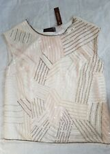 BNWT STUNNING Savoir All Over Sequin Shell Party Top In Nude Cream Sz 20 RRP £50