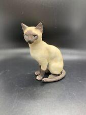 Vtg Ceramic Siamese Cat Figurine Realistic Seal Point Matte Finish Painted 5 1/2