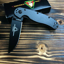 Ontario 8834 Rat Model 2 Black Carbon Fiber Handle D2 Steel Folding Knife New