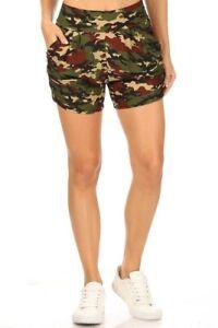Leggings Depot Camo Print High-Rise Shorts w/Pockets