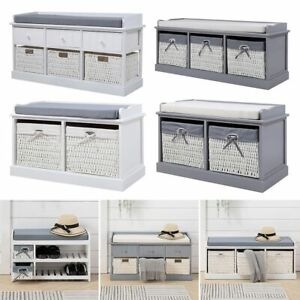 Shoes Rack Hallway Storage Bench Cabinet Seat with Drawer Basket Padded Cushion