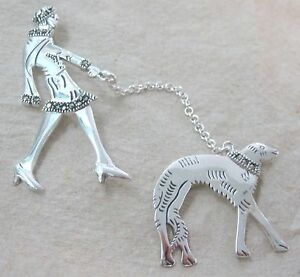 925 STERLING SILVER Marcasite Lady Walking Dog UNUSUAL Brooch - Mothers Day GIft