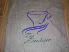 Burlap Coffee Sack Cup of Excellence Advertising Coffee Shop Decor