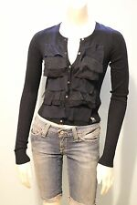 Abercrombie & Fitch Women Navy Ruffle Lace Cardigan Sweater NwT X-Small