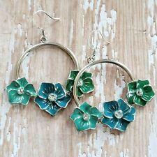 Vintage Earrings 90s Pierced Tropical Hibiscus Flower Silver Tone Dangle Hoops
