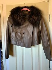 BCBGMAXAZRIA Brown Leather Jacket with Detachable Genuine Racoon Fur Collar Xs