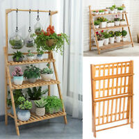 Large Bamboo Flower Pot Shelf Plant Stand 3 Tiers Planter Ladder Rack Organizer