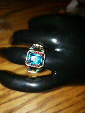 Jewellry Size 6 Blue Aquamarine  Cut 10KT yellow Gold Filled Ring For Ladies