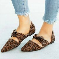 Women's Fashion Summer Flat Casual Shoes Leopard Bow Pointed Toe Pumps Shoes