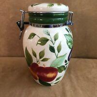 Sakura Sonoma Storage Jar Lock Lid Canister Fruit Design Oneida vintage