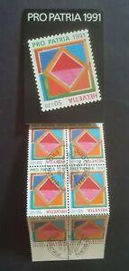 1991 SWITZERLAND SUISSE COMPLETE BOOKLET PRO PATRIA 1991 VF USED