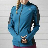 Reebok Women's Speedwick Gym Running Training Full Zip Blue Jacket BK3168