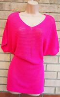 FLORENCE & FRED PINK FUCHSIA KNIT KNITTED LONG JUMPER BAGGY TOP TUNIC BLOUSE 16