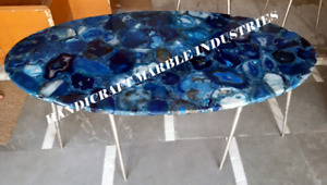 Blue Agate Oval Console Table Dining Table 36 x 24 Inch Coffee Table Natural