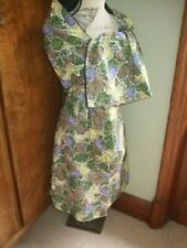 vintage 60s 70s hand made brown green purple shift dress + stole 10 8 perfect
