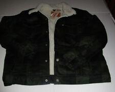 Nwt Mens Levis Dark Green Plaid Sherpa Fur Lined Trucker Jacket Coat XXL