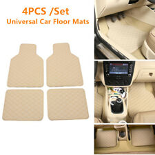 Full Set Car Floor Mats Quilted Design Leather Waterproof Liners Carpets Beige