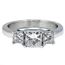 1.40 Ct Taglio Princess Anello Diamante Tre pietre F VVs1 14k Oro