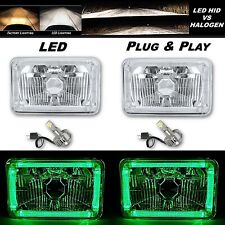 4X6 Green Halo Angel Eye H4 Crystal Clear Headlight Headlamp w/ 6k LED Bulb Pair