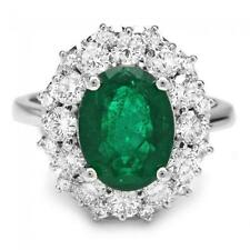 4.85Ct Natural Emerald & Diamond 14K Solid White Gold Ring