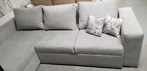 Corner Sofa Bed Silver Grey with Storage Container Sleeping Function Modern
