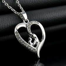 kid Mum Heart Charm Pendent Necklace Crystal Silver Plated Jewelry Mother's Gift
