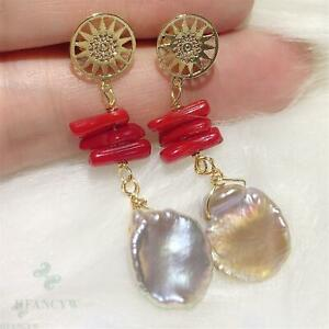 Coral branch Color Baroque Pearl Earring Gold Ear Drop Hook Flawless Accessories